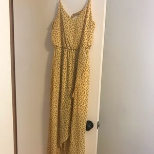 High low yellow dress with flowers